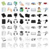 Ícones ajustados do intérprete e do tradutor no estilo dos desenhos animados A coleção grande do intérprete e o tradutor vector o ilustração do vetor