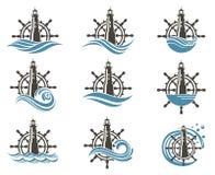 Ícones ajustados do leme e do farol ilustração do vetor
