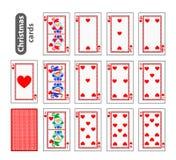 Ícones ajustados do Natal do pôquer dos cartões coração do vermelho da cor Papai Noel, menina e duende Ilustração Uso para o loca Foto de Stock Royalty Free