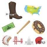 Ícones ajustados do país dos EUA no estilo dos desenhos animados Foto de Stock