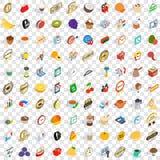 100 ícones ajustados, do reclame estilo 3d isométrico Fotografia de Stock Royalty Free