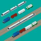 Ícones ajustados do trem Fotografia de Stock