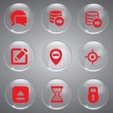 Ícones ajustados do vermelho de vidro Imagens de Stock