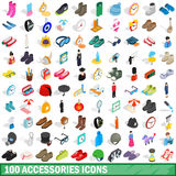 100 ícones ajustados, dos acessórios estilo 3d isométrico ilustração do vetor
