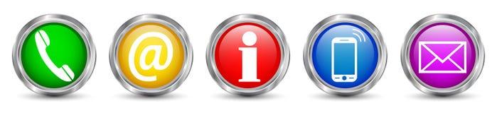 Ícones ajustados dos botões de contato - vetor ilustração royalty free