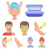 Ícones ajustados dos cuidados com a pele no estilo dos desenhos animados Coleção grande da ilustração do estoque do símbolo do ve Imagens de Stock