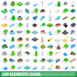 100 ícones ajustados, dos elementos estilo 3d isométrico Imagens de Stock Royalty Free
