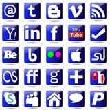Ícones ajustados dos meios sociais. Foto de Stock
