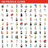 100 ícones ajustados, dos povos estilo 3d isométrico Foto de Stock