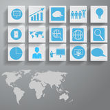 Ícones ajustados e mapa do mundo, para o projeto Foto de Stock