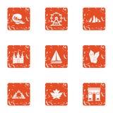Ícones ajustados, estilo da água do inchaço do grunge ilustração stock