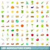100 ícones ajustados, estilo da agricultura dos desenhos animados ilustração do vetor