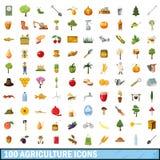 100 ícones ajustados, estilo da agricultura dos desenhos animados Fotografia de Stock Royalty Free