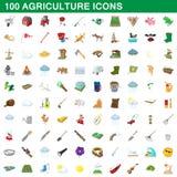 100 ícones ajustados, estilo da agricultura dos desenhos animados Imagem de Stock
