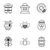 Ícones ajustados, estilo da apicultura do esboço ilustração royalty free