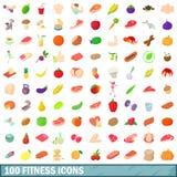 100 ícones ajustados, estilo da aptidão dos desenhos animados Foto de Stock