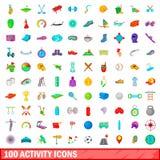 100 ícones ajustados, estilo da atividade dos desenhos animados Foto de Stock