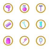 Ícones ajustados, estilo da barbearia dos desenhos animados Fotos de Stock Royalty Free