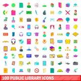 100 ícones ajustados, estilo da biblioteca pública dos desenhos animados Fotografia de Stock