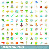 100 ícones ajustados, estilo da biologia dos desenhos animados Foto de Stock Royalty Free