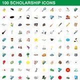 100 ícones ajustados, estilo da bolsa de estudos dos desenhos animados Foto de Stock