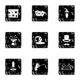 Ícones ajustados, estilo da bruxeria do grunge Imagens de Stock Royalty Free