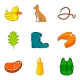 Ícones ajustados, estilo da caça dos desenhos animados Fotografia de Stock Royalty Free