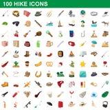 100 ícones ajustados, estilo da caminhada dos desenhos animados ilustração royalty free