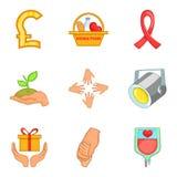 Ícones ajustados, estilo da caridade dos desenhos animados Imagens de Stock Royalty Free