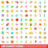 100 ícones ajustados, estilo da caridade dos desenhos animados Imagens de Stock