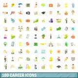 100 ícones ajustados, estilo da carreira dos desenhos animados Imagem de Stock