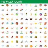 100 ícones ajustados, estilo da casa de campo dos desenhos animados Imagens de Stock