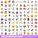 100 ícones ajustados, estilo da celebração dos desenhos animados Fotos de Stock Royalty Free