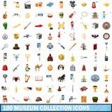 100 ícones ajustados, estilo da coleção do museu dos desenhos animados Foto de Stock Royalty Free
