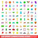 100 ícones ajustados, estilo da competição de esporte dos desenhos animados Imagens de Stock Royalty Free
