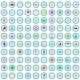 100 ícones ajustados, estilo da competição de esporte dos desenhos animados ilustração royalty free