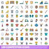 100 ícones ajustados, estilo da competição dos desenhos animados Fotografia de Stock Royalty Free