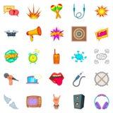 Ícones ajustados, estilo da composição dos desenhos animados Foto de Stock Royalty Free