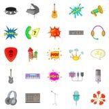 Ícones ajustados, estilo da composição musical dos desenhos animados Imagens de Stock