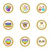 Ícones ajustados, estilo da comunidade de Lgbt dos desenhos animados Fotografia de Stock