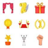 Ícones ajustados, estilo da conquista da vitória dos desenhos animados Foto de Stock Royalty Free