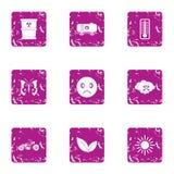Ícones ajustados, estilo da contaminação do grunge ilustração do vetor