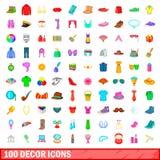 100 ícones ajustados, estilo da decoração dos desenhos animados Fotos de Stock