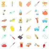 Ícones ajustados, estilo da destreza dos desenhos animados Fotos de Stock
