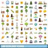 100 ícones ajustados, estilo da ecologia dos desenhos animados Foto de Stock