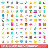100 ícones ajustados, estilo da educação do negócio dos desenhos animados ilustração do vetor