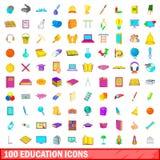 100 ícones ajustados, estilo da educação dos desenhos animados Fotos de Stock