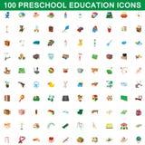 100 ícones ajustados, estilo da educação pré-escolar dos desenhos animados Foto de Stock