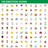 100 ícones ajustados, estilo da emoção dos desenhos animados Imagens de Stock
