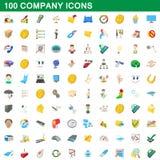 100 ícones ajustados, estilo da empresa dos desenhos animados Imagens de Stock Royalty Free